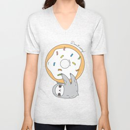 Donut worry Sloth Unisex V-Neck