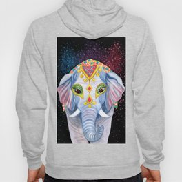 Indian Holi Elephant Watercolor and Acrylic Painting Hoody