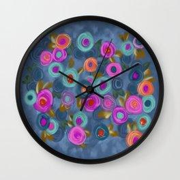 Rose garden roses cottage blue pink orange Wall Clock