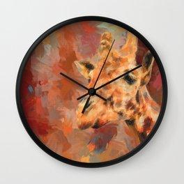 Long Necked Friend Giraffe Art Wall Clock