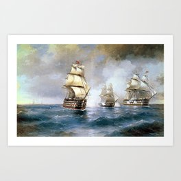 Brig Mercury Attacked by Two Turkish Ships Art Print