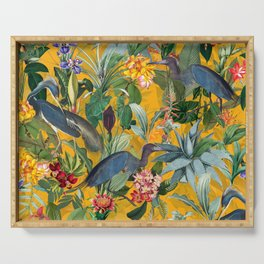 Vintage & Shabby Chic - Sunny Tropical Garden Blue Heron Serving Tray