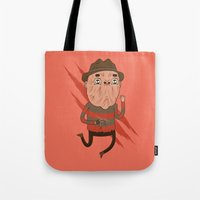 freddy krueger Tote Bags featuring Freddy by Daniel Mackey