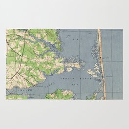 Vintage Rehoboth & Bethany Beach DE Map (1944) Rug