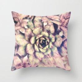 Sempervivum, Succulent Red  Mandala Throw Pillow