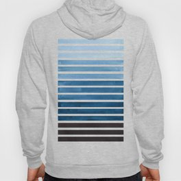 Watercolor Gouache Mid Century Modern Minimalist Colorful Green Blue Stripes Hoody