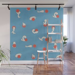 Tiny T-Rex and his Red Ball Wall Mural
