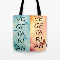 vegetarian Tote Bags featuring Vegetarian by SensualPatterns