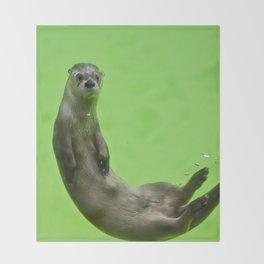 Green Otter Throw Blanket