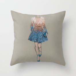 Elie Saab fashion Illustration Throw Pillow