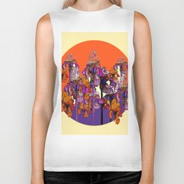 "modern art "" PURPLE & CREAM "" ORANGE IRIS GARDEN Biker Tank"