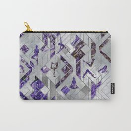 Yoga Asanas in Amethyst on geometric pattern Carry-All Pouch
