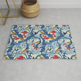 North American Forest Pattern (Blues) Rug