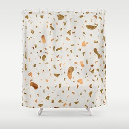 Blush terrazzo with gold and copper spots Shower Curtain