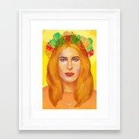 hemingway Framed Art Prints featuring Dree Hemingway by Alejo Malia