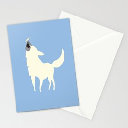 Little White Dog with Bird, Blue Stationery Cards