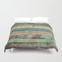 coffe Duvet Covers featuring Wooden Vintage  by Patterns and Textures