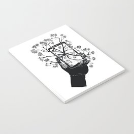 Break Free Cellphone Illustration - Hand holding cellphone growing a tree. Notebook