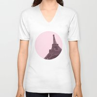 eiffel V-neck T-shirts featuring Eiffel by Michelle Wang