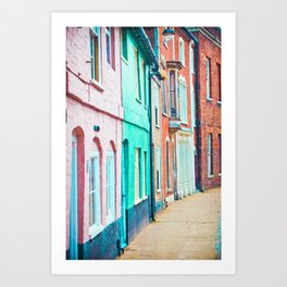 A row of colourful town houses in England Art Print
