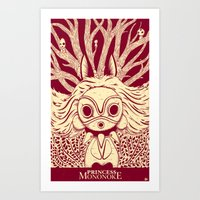 mononoke Art Prints featuring Princess Mononoke by andbloom