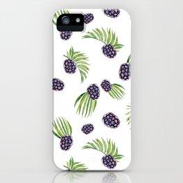 Hand painted black green watercolor fruity blackberries iPhone Case