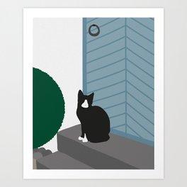 Cat by door Art Print
