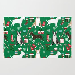 Bull Terrier christmas holiday pet pattern stockings presents dog breed gifts Rug