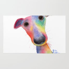 Nosey Dog Whippet / Greyhound ' HANK ' by Shirley MacArthur Rug