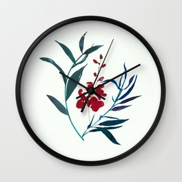 Red burgundy orchid and ocean navy blue foliage Wall Clock