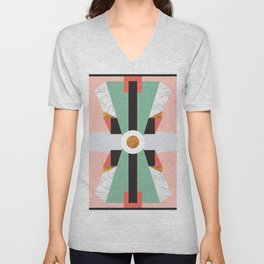 Mid Century Modern Geometric Abstract Retro 70s Pink Green Gold Black Unisex V-Neck