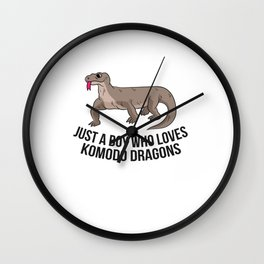 Just a Boy Who Loves Komodo Dragons Funny Komodo Dragon Boy Wall Clock