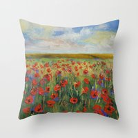 poppies Throw Pillows featuring Poppies by Michael Creese