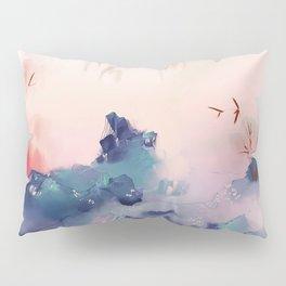 Pink and Blue Alien Mountain Landscape Pillow Sham