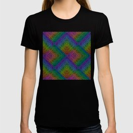 Multicoloured hypnotic diamond trance pattern T-shirt