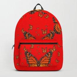 ORANGE MONARCH BUTTERFLIES RED MODERN ART MONTAGE Backpack