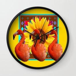 YELLOW BROWN SUNFLOWERS ART DECO 3 SAFFRON FLAMINGOS ART Wall Clock