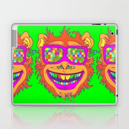 A funny monkey face colored glasses. Laptop & iPad Skin