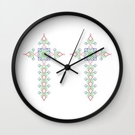 Habesha Cross Eritrea Ethiopia Traditional Dress Wedding graphic Wall Clock