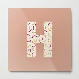 Light Swish Shapes Initial Monogram Letter H Metal Print