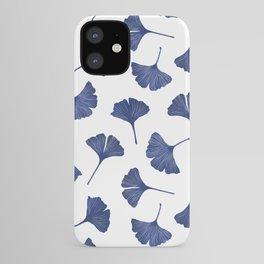 Blue Ginkgo Biloba Pattern iPhone Case