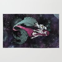 sailormoon Area & Throw Rugs featuring Galactic Siamois by A+A Noisome Art