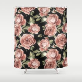 Classic Pink Roses On Black Shower Curtain