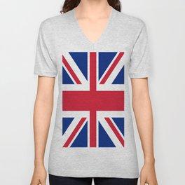 flag of uk- London,united kingdom,england,english,british,great britain,Glasgow,scotland,wales Unisex V-Neck