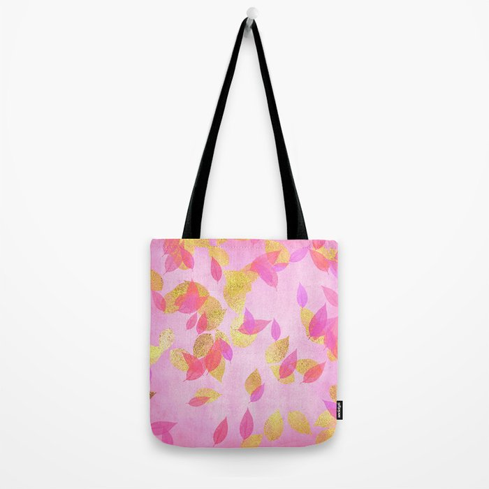 Autumn-world 5 - gold glitter leaves on pink background Tote Bag
