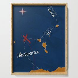 L'avventura, Monica Vitti, Michelangelo Antonioni, italian cinema, film, sea adventures, hollywood Serving Tray