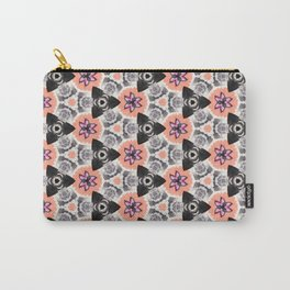 Handmade Pink and Black Kaleidoscope Pattern Carry-All Pouch