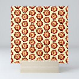 Red Yellow  Daisy Pattern,Retro Mini Art Print
