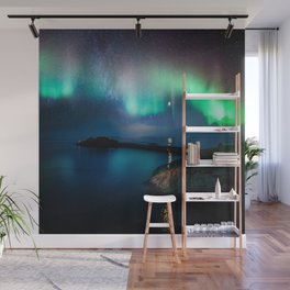 Aurora Borealis Over Coastal Waters Wall Mural