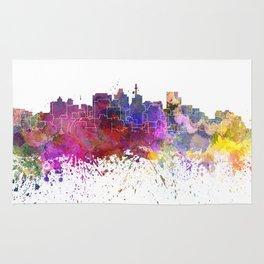 Durban skyline in watercolor background Rug